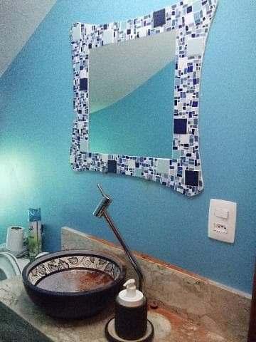 Banheiro Espelho Moldura Mosaico