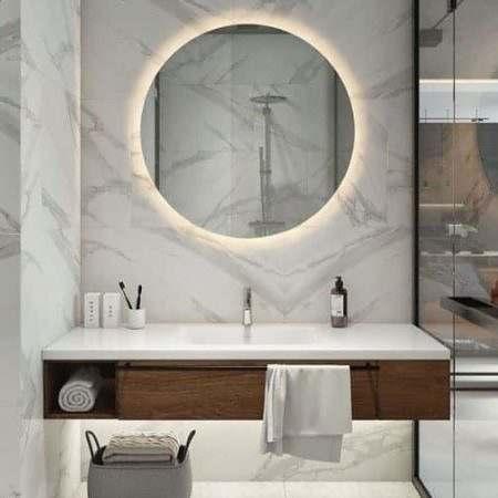 Espelho Redondo com LED Flutuante Banheiro