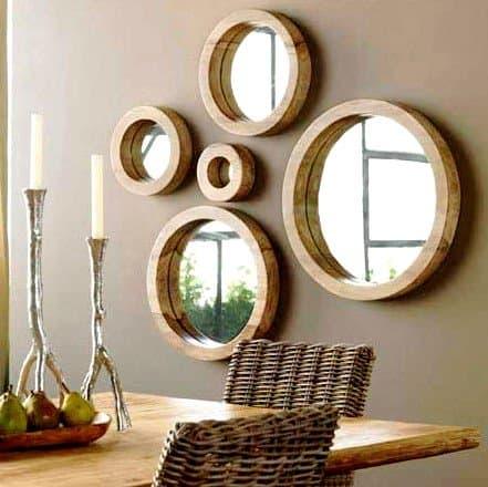 Moldura de Madeira Redonda com Espelho