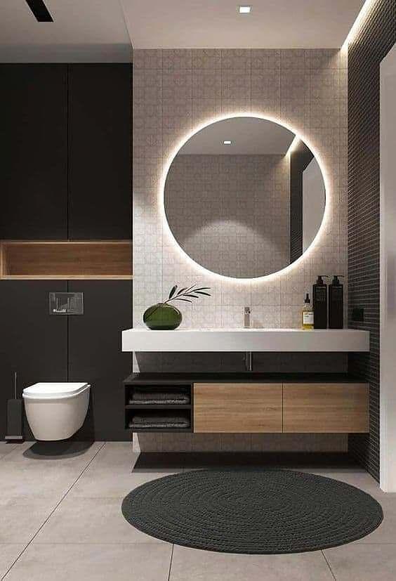 Espelho Decorativo Redondo Banheiro LED