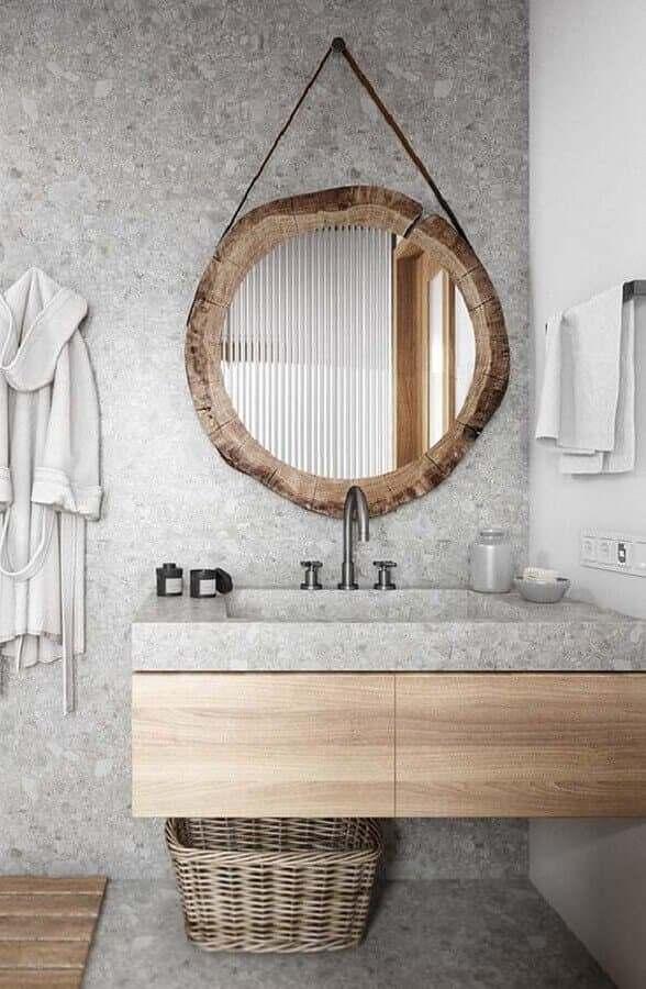 Espelho Decorativo Redondo Banheiro Tronco